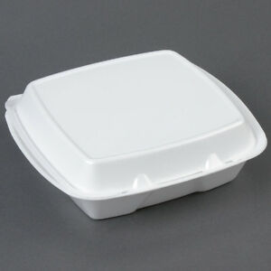 200 pack 9 X 9 X 3 White Foam Square Take Out Containers With Hinged Lid