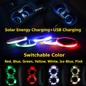 1pcs Solar Cup Holder Pad Led Light Cover Mouldings Trim Lamp For Toyota Car