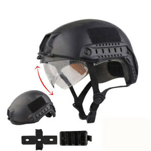 Tactical Airsoft Paintball SWAT Protective FAST Helmet W Goggle + Half Mask