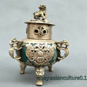 Chinese Collection Jade Mosaic Tibetan Silver Incense Burner Lion Cover Dragon