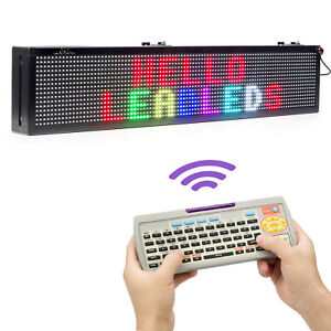 30 X 6 In Rgb 7 Color Scrolling Led Display Door Signs Fast Program By Ir Remote