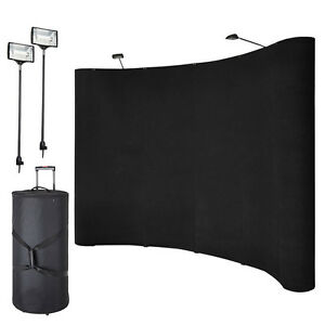 10ft Portable Display Trade Show Booth Exhibit Black Pop Up Kit Spotlights Wfs33