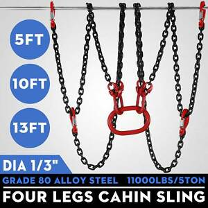 5 10 13 Ft Alloy Steel Lifting Chain Sling 4 Legs Sling Hook Chain Adjustable