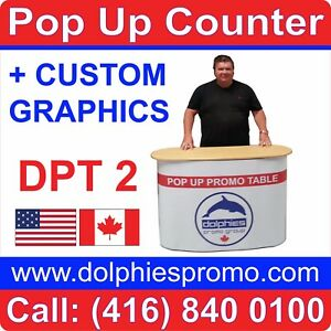 Trade Show Pop Up Table Counter Portable Kiosk Display Custom Printed Graphics