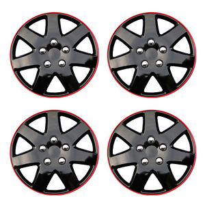 Hub Caps Style 962 Wheel Cover Ice Black With Red Trim 15 Set Of 4