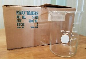 4 Pack Kimble 14000 2000 Kimax Griffin Glass Beaker With Spout Low Form New