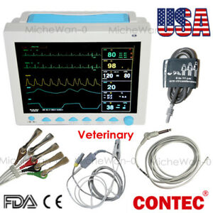 Contec Cms8000vet Veterinary Portable Monitor Ecg Nibp Spo2 Pr Resp Temp Fedex