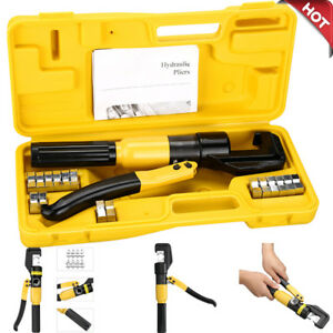 10 Ton Hydraulic Wire Battery Cable lug Terminal Crimper Crimping Tool free Case