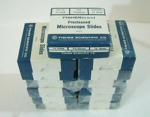 Fisherbrand Microscope Slides 75mm X 25mm 13 Boxes 936 Total Vintage