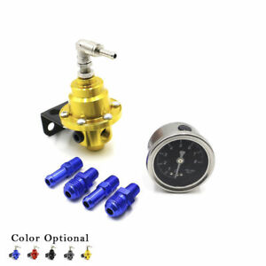 Universal Adjustable Fuel Pressure Regulator Gold With Fuel Pressure Gauge