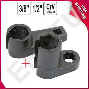 2pcs 1 2 3 8 Drive Ratchet Oxygen Sensor Wrench Offset Removal Socket Tool