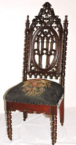 Chair Parlor Gothic Elizabethan Walnut Boston Nyc Poss Meeks 45 C1850