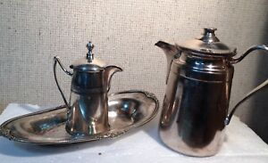 Vintage Reed Barton Silver Coffee Pot Creamer And Plate