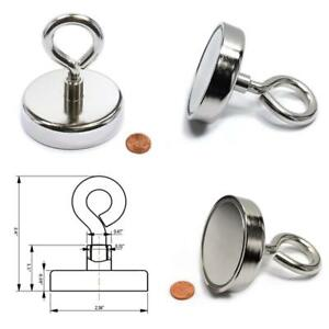 Round Neodymium Fishing Magnet With Countersunk Hole Eyebolt 255 Lbs Pull Usa