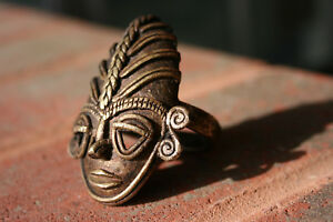 Antique Oriental Indian Bronze Carved Small Mask Ring