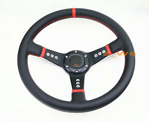 Deep Dish Off Road 350mm 6 Hole Red Aluminum Leather Racing Steering Wheel Horn