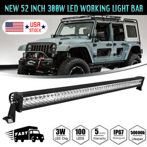 52inch 300w Combo Spot Flood Work Led Light Bar Driving Offroad Suv Car 4wd Boat
