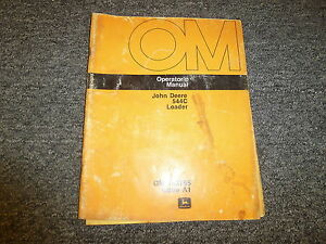 John Deere 544c Wheel Loader Tractor Owner Operator Manual User Guide Omt63755