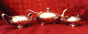Wilcox Silverplate Tea Set Sleek Art Deco Style Etched Low Profile Ships Free