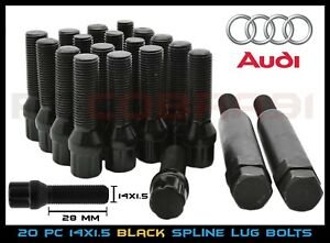 Audi Black Spline Drive Locking Lug Bolts M14x1 5 For Aftermarket Wheels 28mm