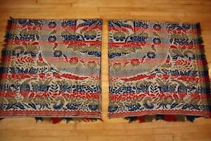 Lot 2 Antique Woven Wool Jacquard Coverlet Cutter Blanket Remnant Textile Art