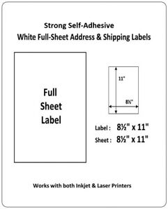Full Sheet Shipping Labels 8 5 X 11 Self Adhesive Usps Ups Fedex Amazon Fba