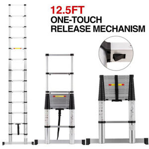 Automatic Telescopic 12 5ft Extension Ladder Aluminium Fully Folding Step Ladder