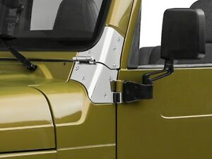 Smittybilt Stainless Steel Windshield Hinge Set Pair 97 06 Jeep Wrangler Tj Lj