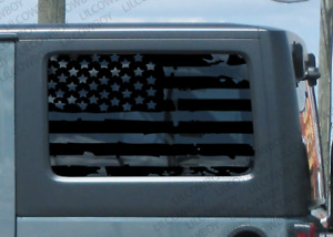 Jku Window Distressed Usa Flag Vinyl Sticker Decal Jeep Wrangler Tattered J3s
