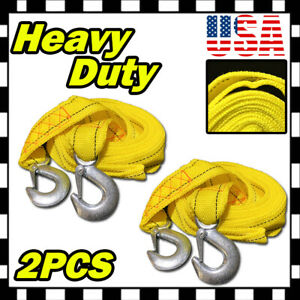 2 X 10ft 2 X 10 Heavy Duty Yellow Rope Tow Strap With Hook 6 600 Lb Capacity