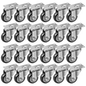 24 Pack Caster Swivel Plate Casters 3 Inch Plate