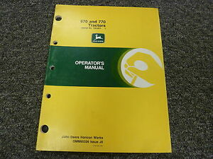 John Deere 670 770 Compact Utility Tractor Owner Operator Manual Book Omm95326