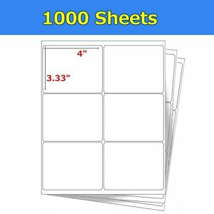 6000 4 X 3 1 3 Laser Ink Jet Address Shipping Self Adhesive Labels 6 Per Sheet