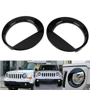 Pair Angry Bird Style Front Headlight Lamp Cover Trim For Jeep Patriot 2011 2017