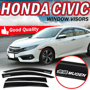 For 16 17 Honda Civic Oe Smoke Tinted Rain Guard Window Visors W mugen Sticker