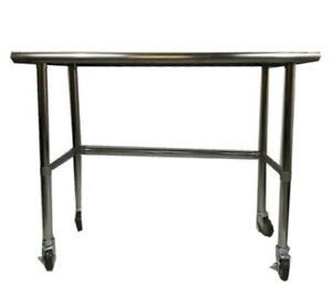 14 X 48 Stainless Steel Work Prep Table W Adjustable Crossbar Wheels Casters