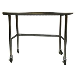 18 X 30 Stainless Steel Work Prep Table W Adjustable Crossbar Wheels Casters