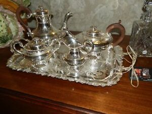 Spectacular Antique 1900 S Silver Plate Coffee Tea Set Made In England