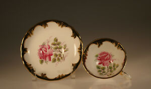 Tuscan China Pink Cabbage Rose With Black And Gold Cup And Saucer England