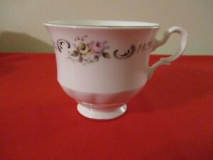 Vintage Gainsborough Bone China England Footed Tea Cup Pink White Rosebuds 1950s