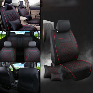 Pu Leather Seat Covers M Size Black Red 5 Seat Car Front Rear Set Us Stock