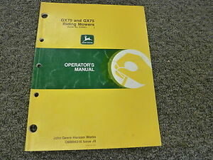 John Deere Gx70 Gx75 Riding Mower Owner Operator Manual User Guide Omm95318