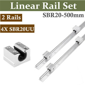 2set Linear Slide Sbr20 500mm Rail Shaft Cnc W 4pcs Sbr20uu Bearing Block