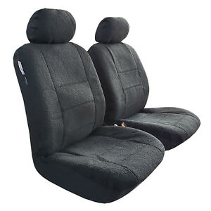 Faux Sheepskin Car Seat Cover Front Pair Universal Auto Fit Airbag Compatible
