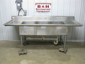 American Delphi 96 Heavy Duty 8 3 Compartment Stainless Sink 20 x30 Bowls