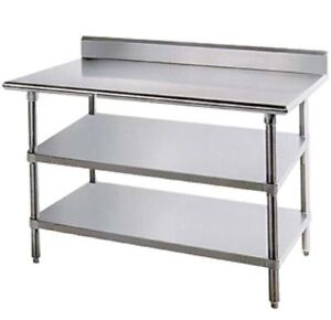 Work Prep Table Backsplash Stainless Steel W 2 Undershelves 24 X 24