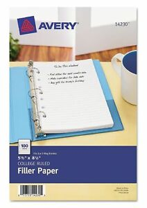 Avery Mini Binder Filler Paper College Ruled 8 1 2 X 5 1 2 Pack Of 10