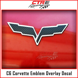 C6 Corvette Flag Emblem Overlay Decal Black Carbon Fiber 2005 2013