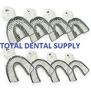 Dental Impression Trays 8 Pcs Stainless Steel Perforated Autoclavable