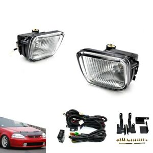 For 96 98 Honda Civic 2 3 4dr Clear Fog Lights Driving Lamps Kit With Switch